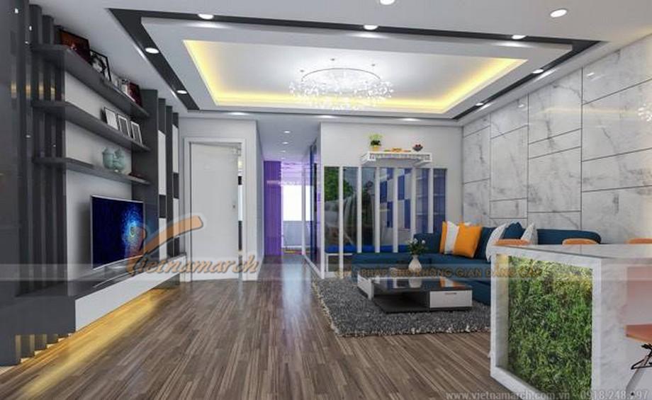 Thi công hoàn thiện nội thất phòng khách căn hộ 06 tầng 14 chung cư Đông Đô