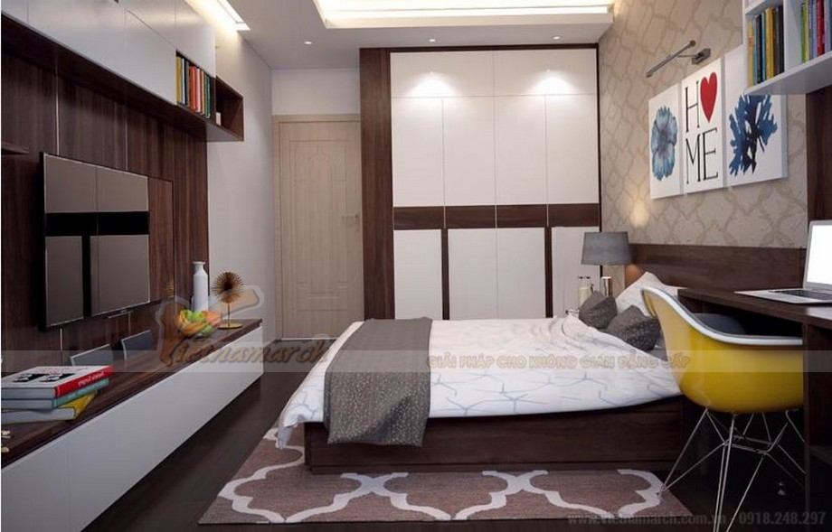 Phương án thiết kế nội thất hiện đại cho căn hộ Vinhome Skylake -09