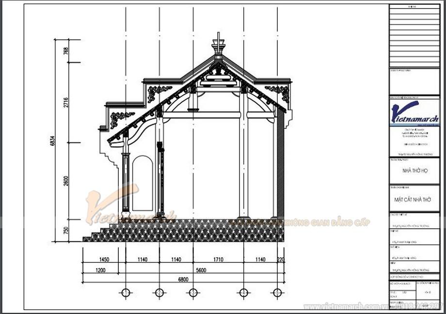 Bản vẽ mặt cắt nhà thờ 3 gina 2 mái