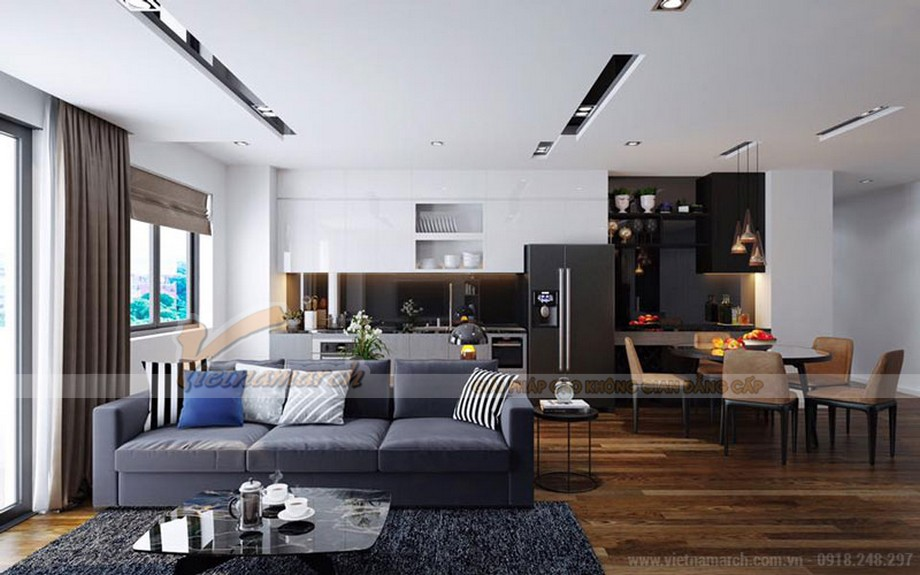 Nội thất mang phong cách đương đại trong căn hộ Vinhomes Green Bay