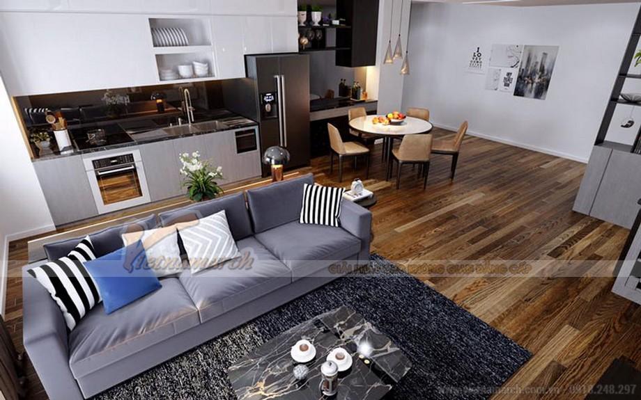 Thiết kế nội thất phòng khách căn hộ 05 tại Vinhomes Green Bay