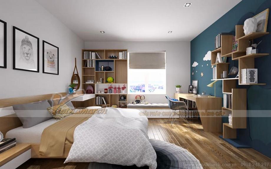 Phòng ngủ rất thông thoáng nhờ biết sắp xếp hợp lý và kết hợp thiết kế nội thất thông minh
