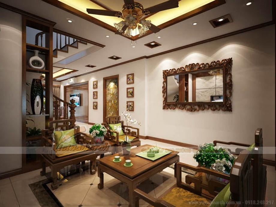 Nội thất phòng khách mang phong cách Á Đông trong ngôi biệt thự tại Quảng Ninh