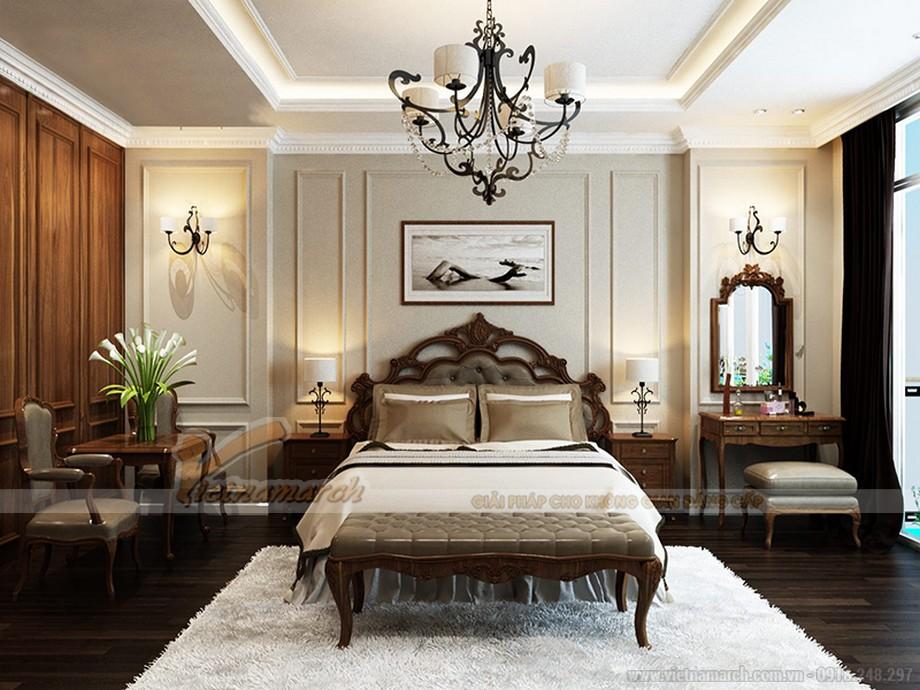 Phòng ngủ thứ nhất được thiết kế theo phong cách tân cổ điển