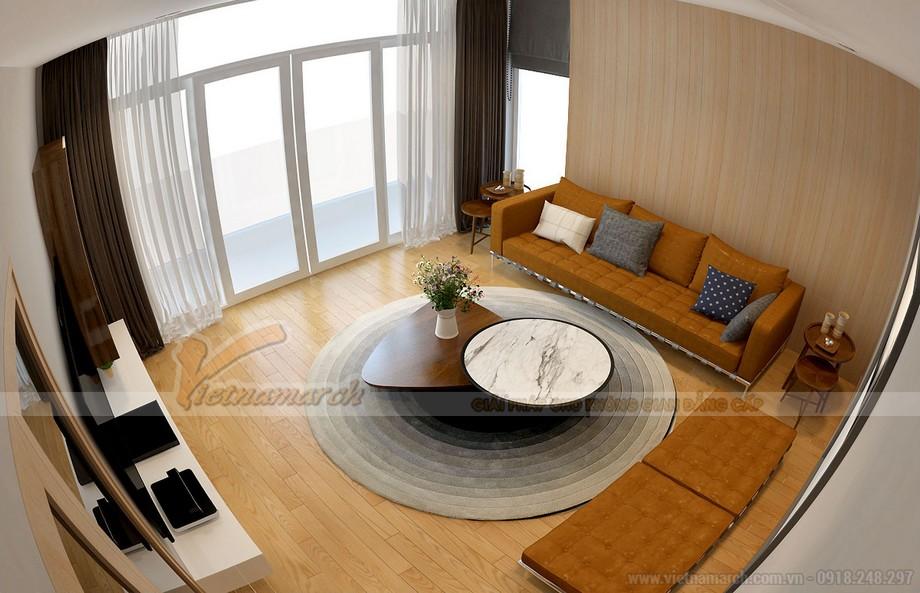 Nội thất phòng khách trầm ấm với tông màu vàng nâu