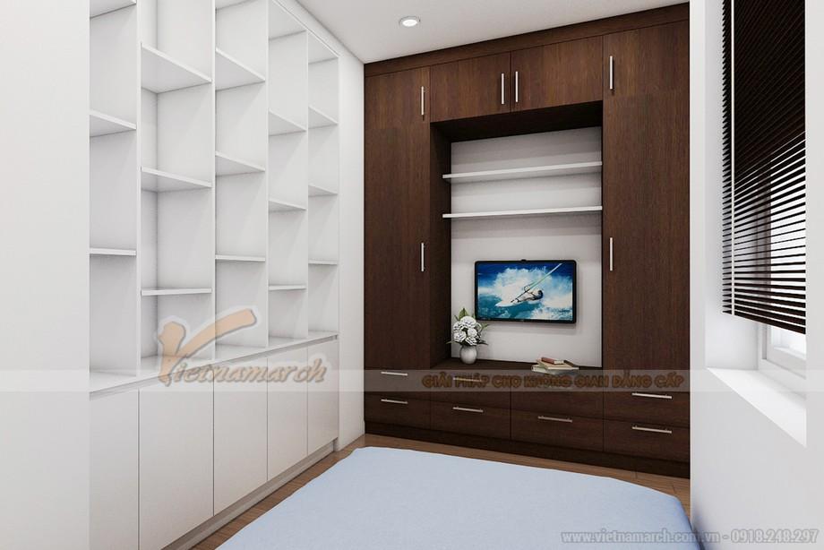 Nội thất đầy đủ trong phòng ngủ nhỏ