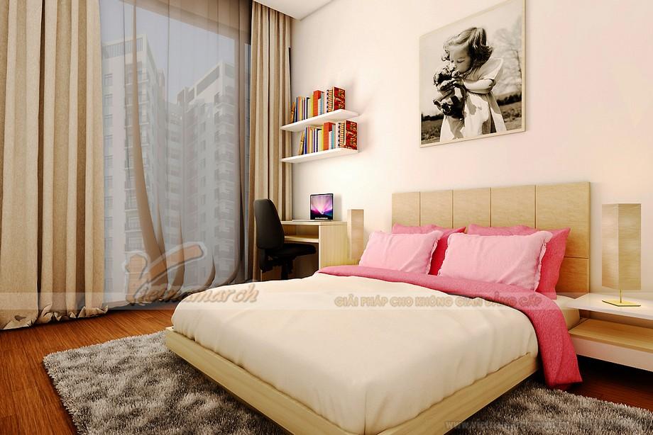 Thiết kế nội thất phòng ngủ điểm sắc hồng, được thiết kế cho bé gái