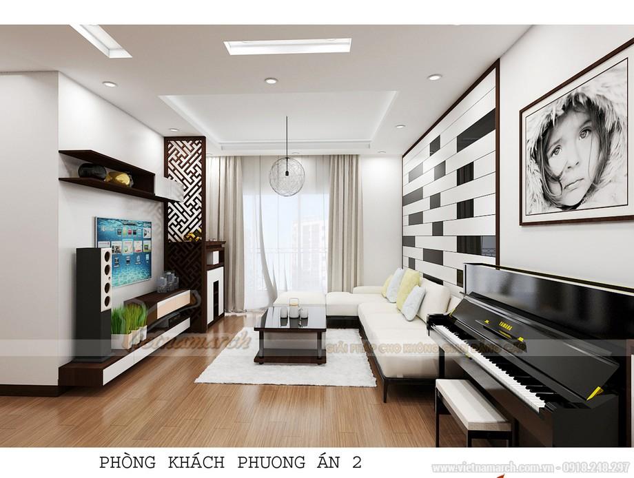 Thiết kế nội thất phòng khách của phương án 2 hiện đại hơn