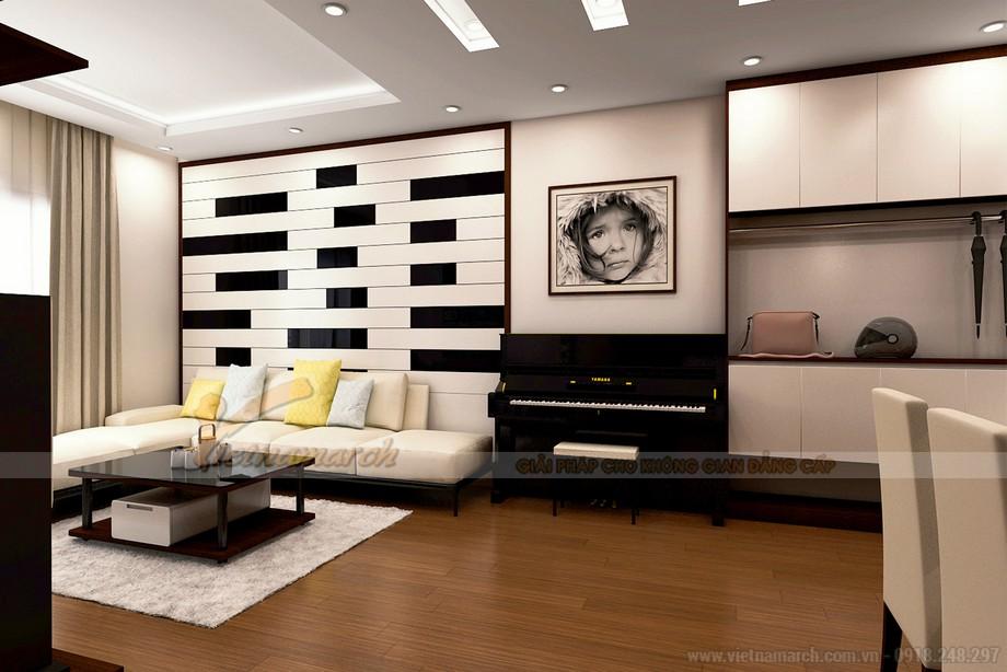 Phòng khách theo phương án này là có 2 tông màu đen và trắng hiện đại