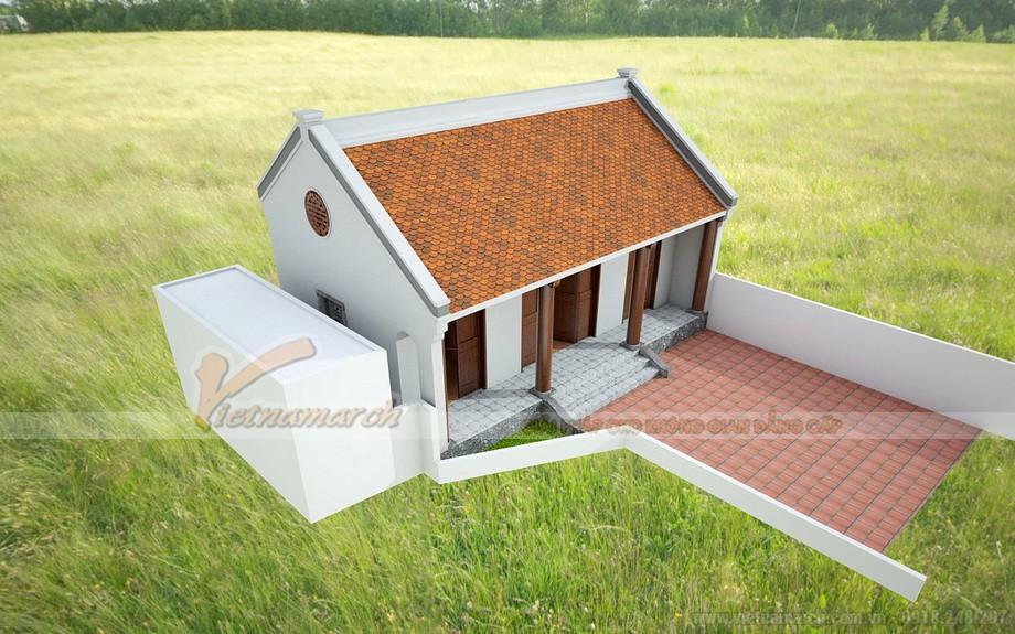 ngôi nhà thờ họ 3 gian 2 mái kết cấu bê tông giả gỗ tại Thạch Thất Hà Nội