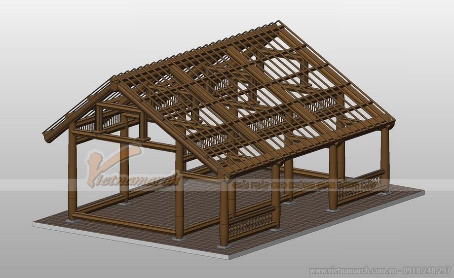 Mô hình kết cấu khung gỗ nhà thờ họ được dựng trên 3D