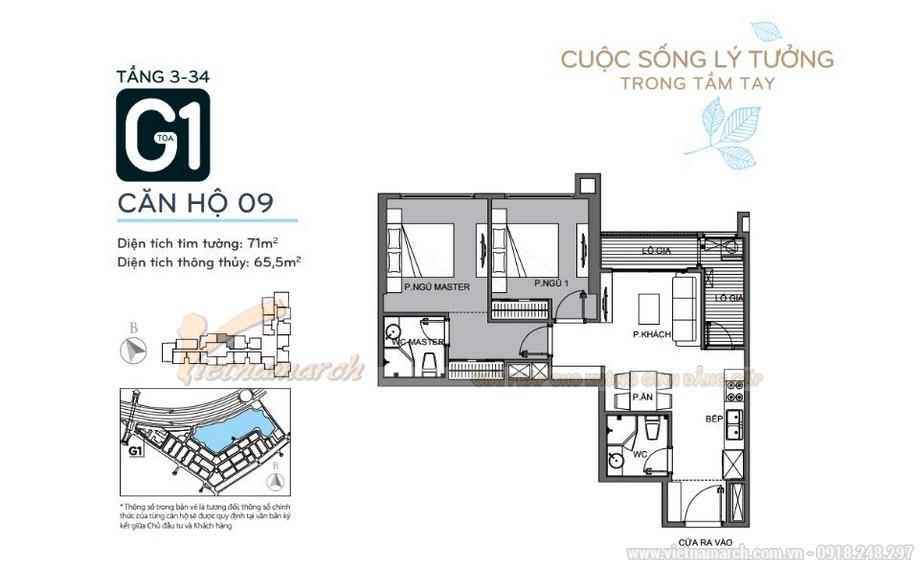 Mặt bằng căn hộ 09 tầng 3-34 tòa G1 chung cư Vinhomes Green Bay