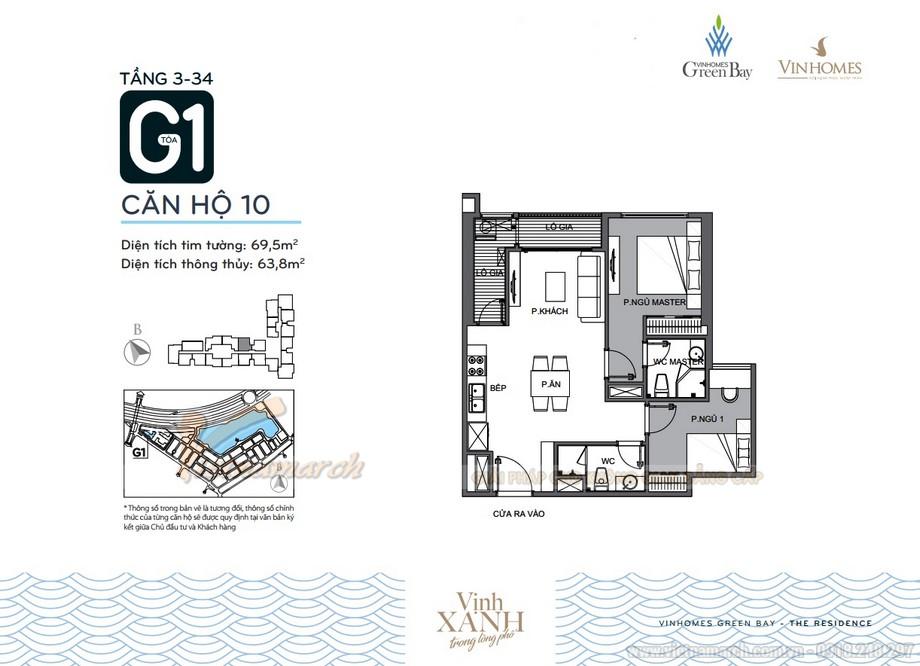 Mặt bằng căn hộ 10 tầng 3-34 tòa G1 chung cư Vinhomes Green Bay