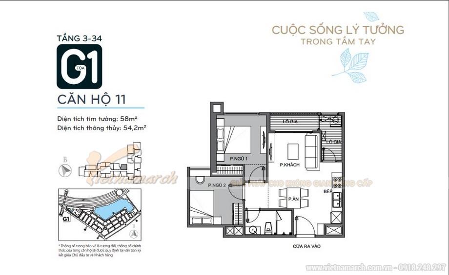 Mặt bằng căn hộ 11 tầng 3-34 tòa G1 chung cư Vinhomes Green Bay