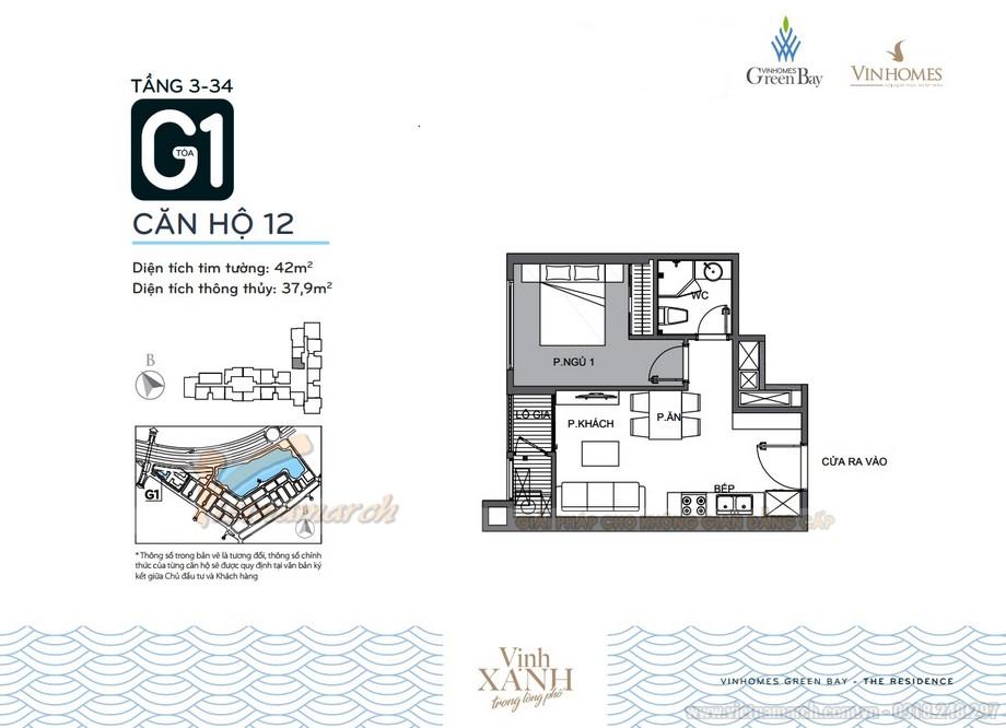 Mặt bằng căn hộ 12 tầng 3-34 tòa G1 chung cư Vinhomes Green Bay