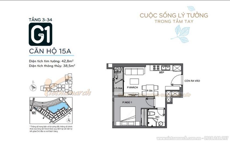 Mặt bằng căn hộ 15A tầng 3-34 tòa G1 chung cư Vinhomes Green Bay