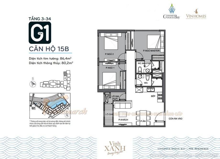 Mặt bằng căn hộ 15B tầng 3-34 tòa G1 chung cư Vinhomes Green Bay