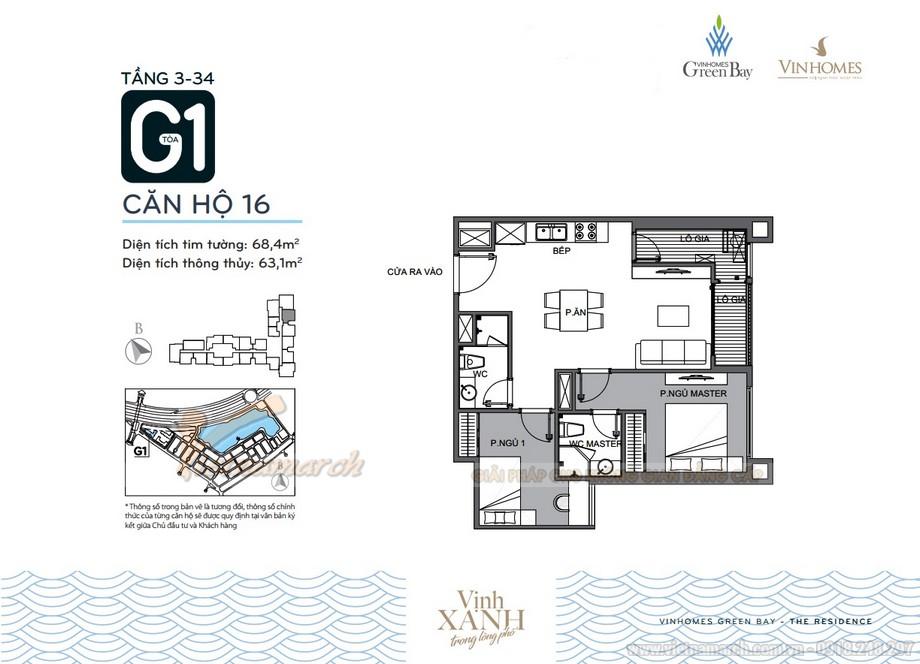 Mặt bằng căn hộ 16 tầng 3-34 tòa G1 chung cư Vinhomes Green Bay
