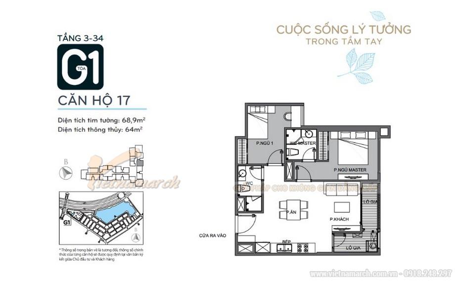 Mặt bằng căn hộ 17 tầng 3-34 tòa G1 chung cư Vinhomes Green Bay