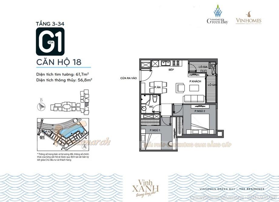 Mặt bằng căn hộ 18 tầng 3-34 tòa G1 chung cư Vinhomes Green Bay
