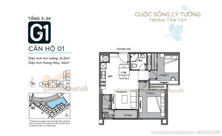 Mặt bằng căn hộ 01 tầng 3-34 tòa G1 chung cư Vinhomes Green Bay