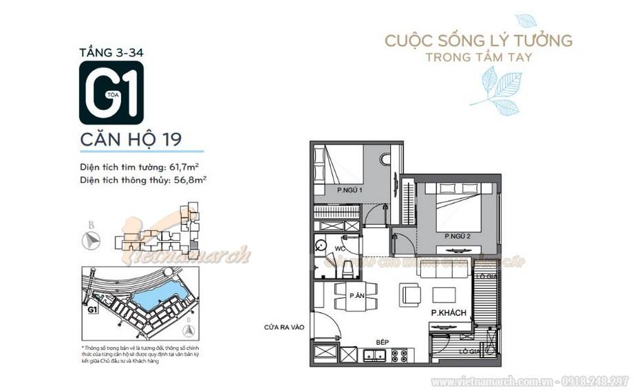 Mặt bằng căn hộ 19 tầng 3-34 tòa G1 chung cư Vinhomes Green Bay