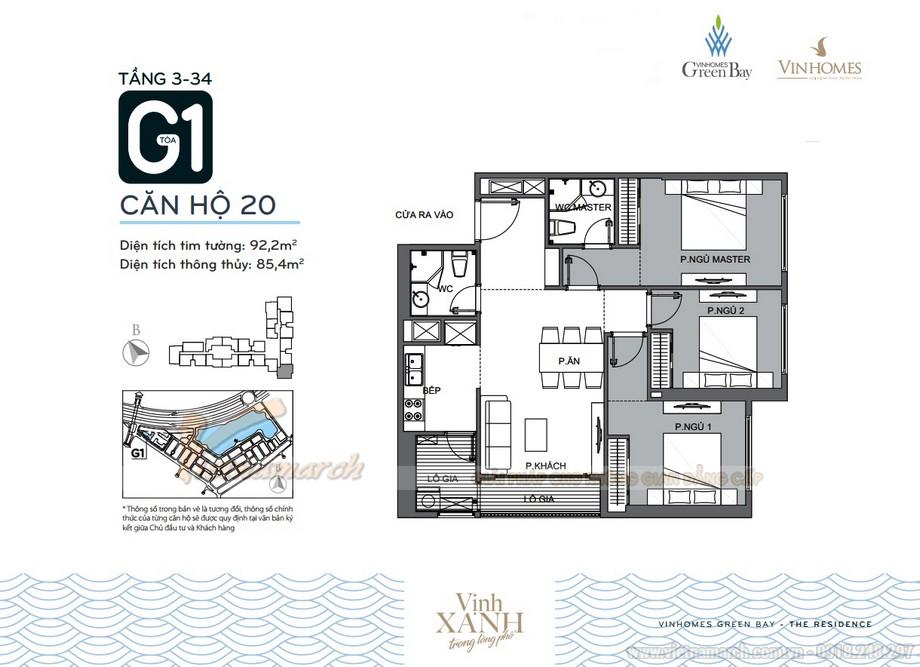 Mặt bằng căn hộ 20 tầng 3-34 tòa G1 chung cư Vinhomes Green Bay