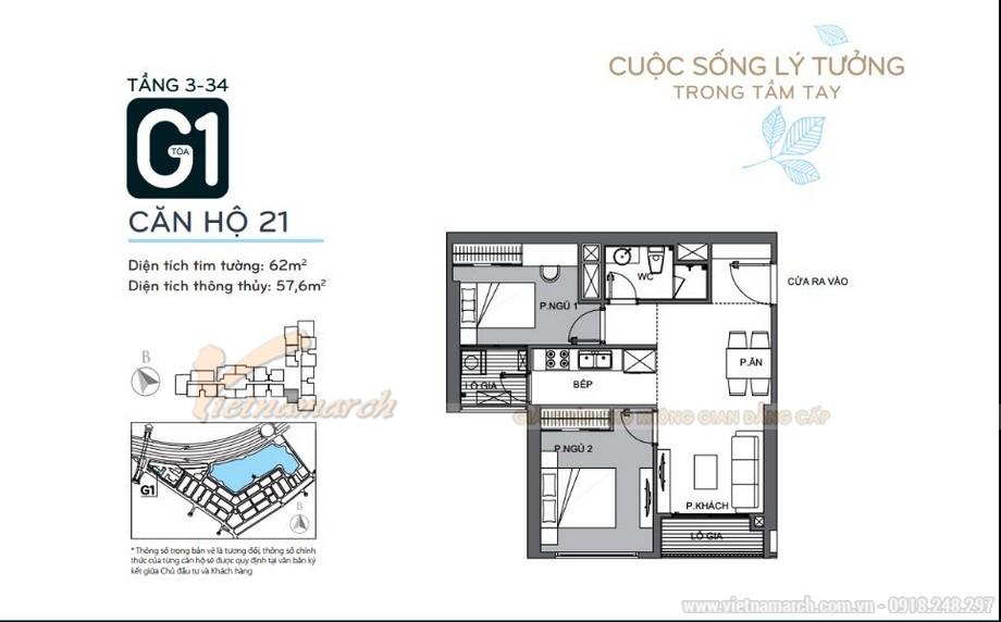Mặt bằng căn hộ 21 tầng 3-34 tòa G1 chung cư Vinhomes Green Bay