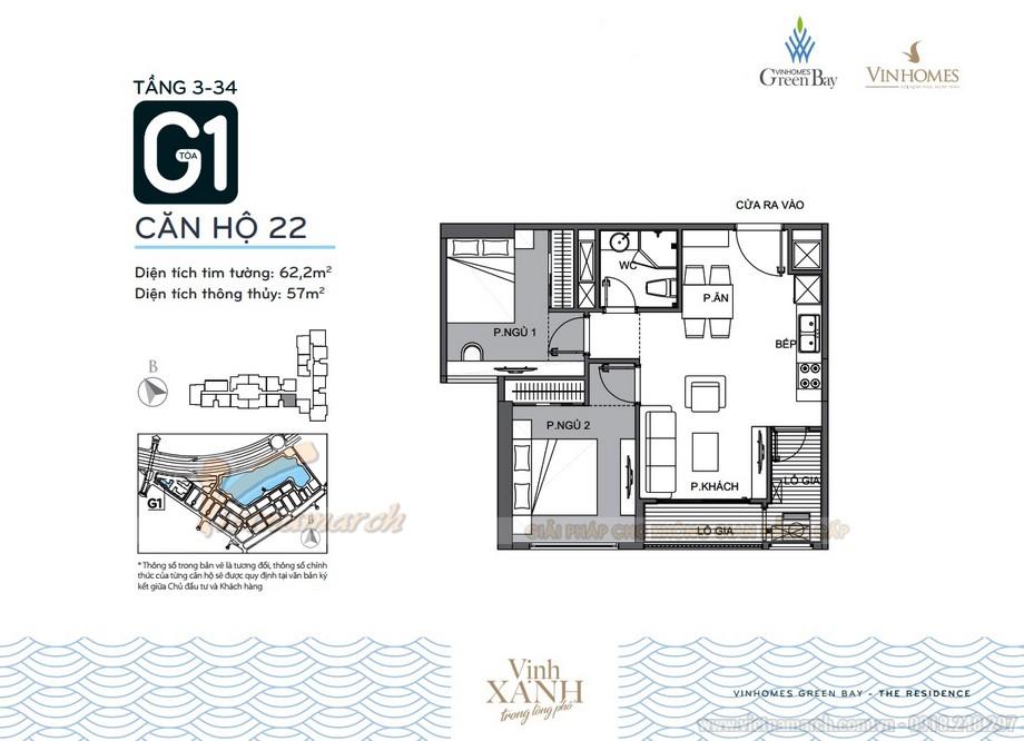 Mặt bằng căn hộ 22 tầng 3-34 tòa G1 chung cư Vinhomes Green Bay