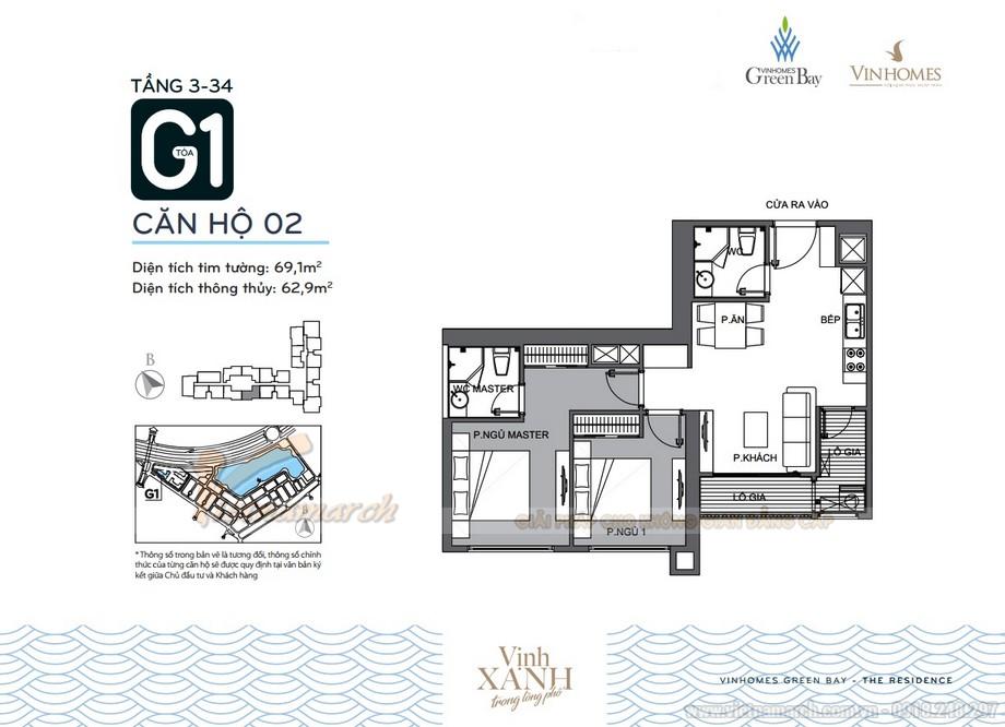 Mặt bằng căn hộ 02 tầng 3-34 tòa G1 chung cư Vinhomes Green Bay