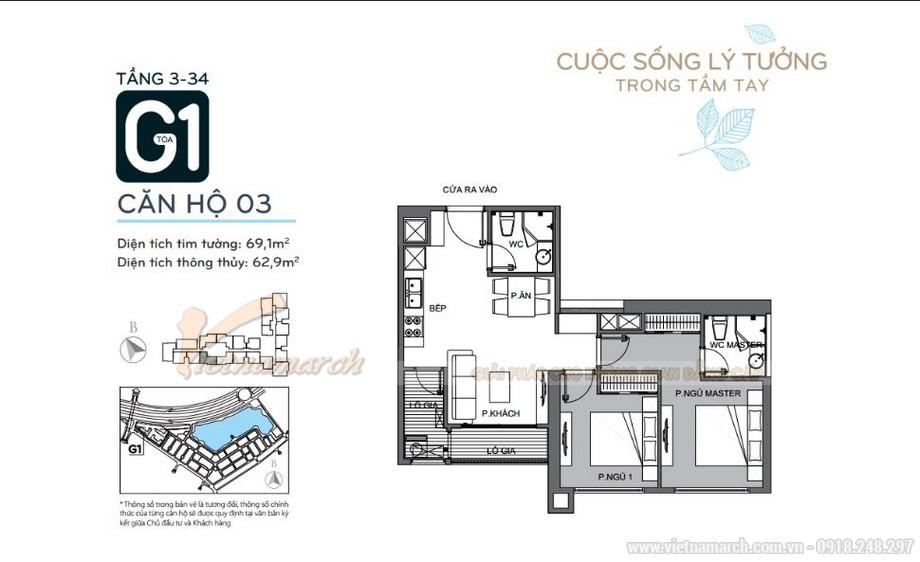 Mặt bằng căn hộ 03 tầng 3-34 tòa G1 chung cư Vinhomes Green Bay