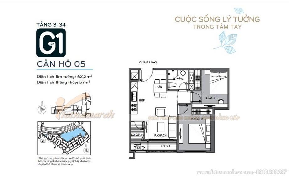 Mặt bằng căn hộ 05 tầng 3-34 tòa G1 chung cư Vinhomes Green Bay