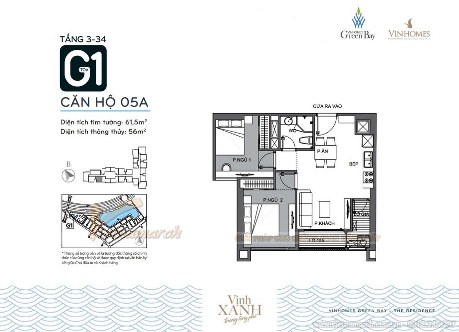 Mặt bằng căn hộ 05A tầng 3-34 tòa G1 chung cư Vinhomes Green Bay