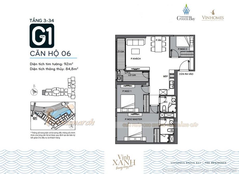 Mặt bằng căn hộ 06 tầng 3-34 tòa G1 chung cư Vinhomes Green Bay