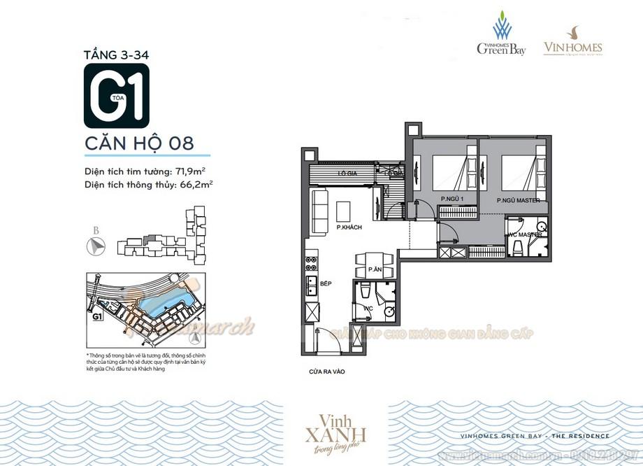 Mặt bằng căn hộ 08 tầng 3-34 tòa G1 chung cư Vinhomes Green Bay