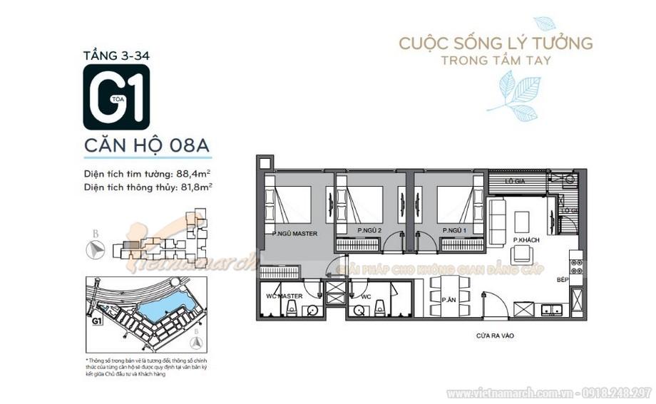 Mặt bằng căn hộ 08A tầng 3-34 tòa G1 chung cư Vinhomes Green Bay