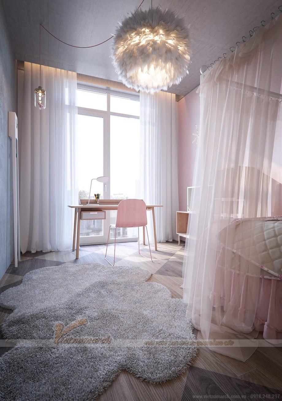 Phòng ngủ màu hồng nữ tính cho con gái