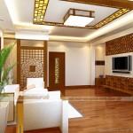 Vách gỗ trang trí phòng khách sang trọng