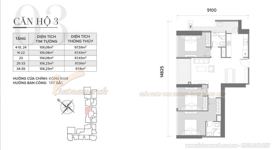 Thiết kế nội thất căn hộ 03 tòa S2 khu chung cư chung cư Vinhome Skylake-01