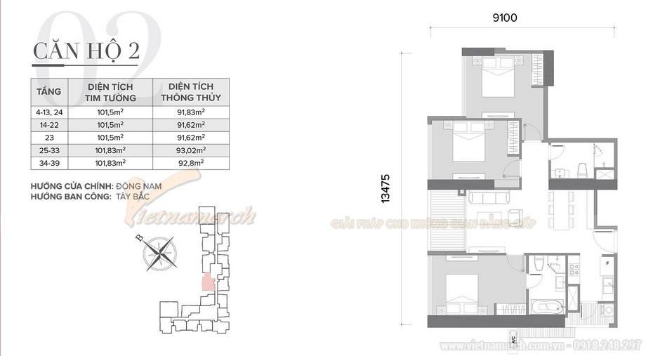 Phương án thiết kế nội thất cho căn hộ 02 tòa S2 chung cư Vinhomes Skylake-01