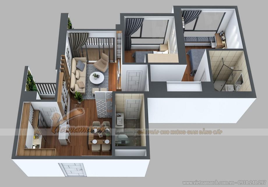 Phương án thiết kế cho căn hộ 21 tòa A3 Vinhomes Gardenia