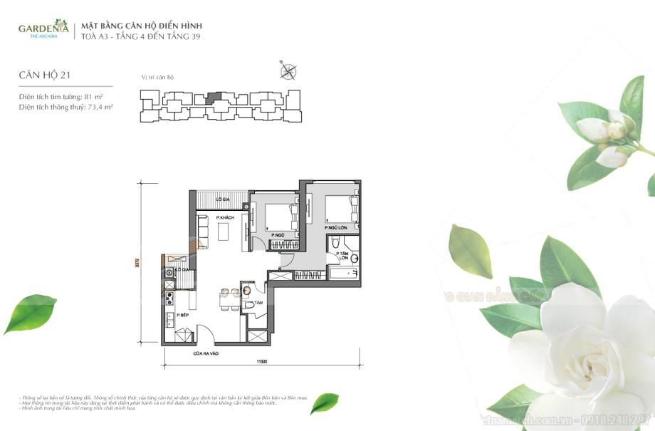 Mặt bằng căn hộ điển hình tòa A3 căn 21