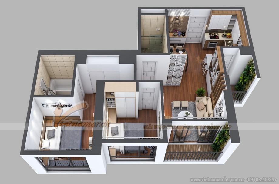 Mặt bằng thiết kế nội thất căn hộ 21 tòa A3 Vinhomes Gardenia