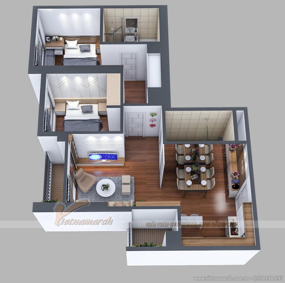 Mặt bằng thiết kế căn hộ 21 tòa A3 Vinhomes Gardenia