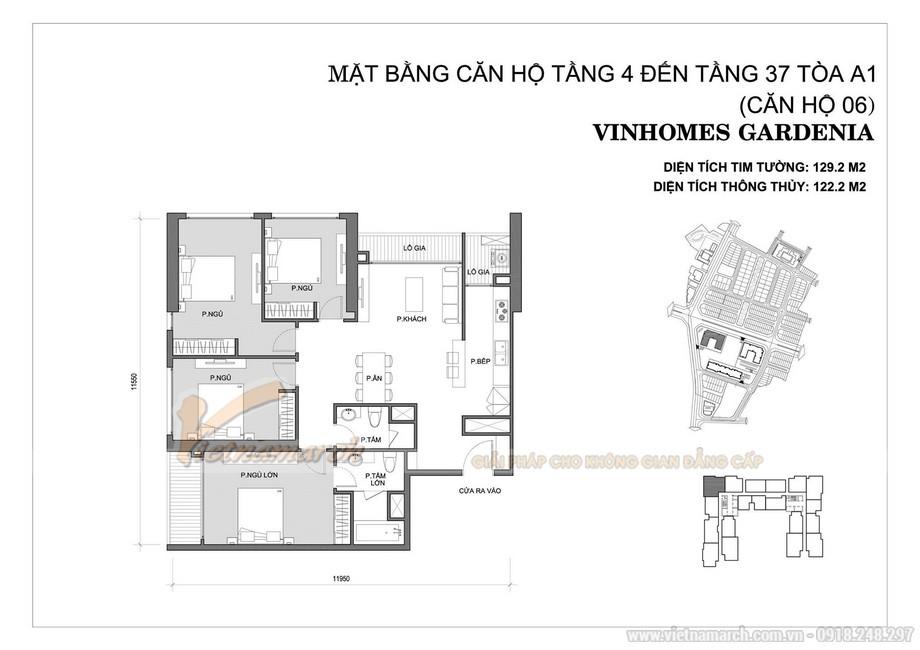 Mặt bằng căn hộ 06 tòa A1 chung cư Vinhomes Gardenia