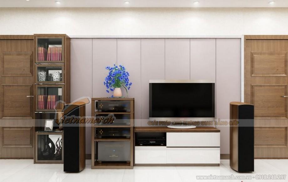 Hệ thống tủ, kệ tivi và loa tại phòng khách căn hộ Vinhomes Gardenia 4 phòng ngủ
