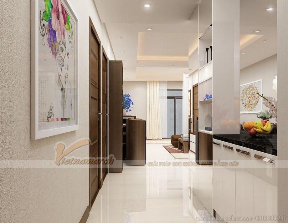 Không gian nội thất căn hộ 06 tòa A1 Vinhomes Gardenia nhìn từ cửa chính