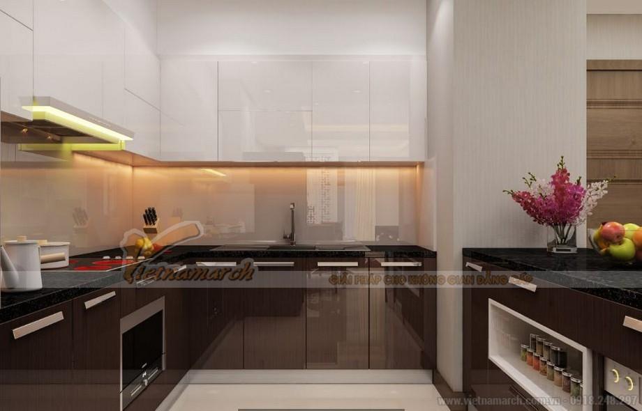 Không gian nội thất phòng bếp căn hộ Vinhomes Gardenia 4 phòng ngủ