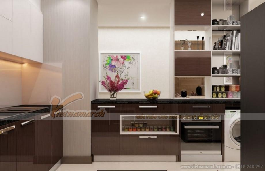 Không gian nội thất phòng bếp căn hộ 06 tòa A1 Vinhomes Gardenia