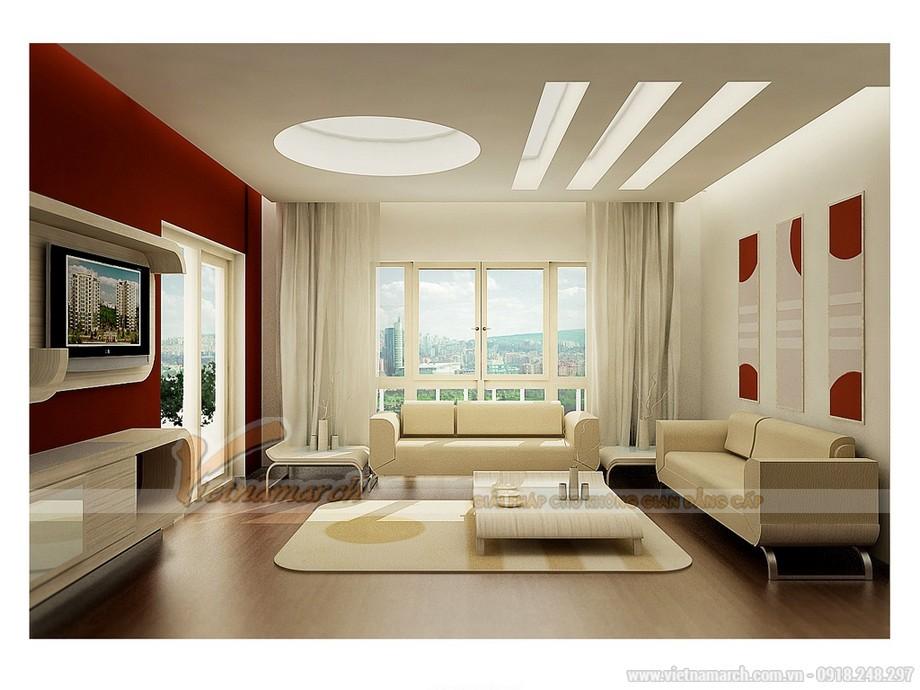 Phòng khách ấn tượng với thảm trải sàn đồng bộ với các đồ nội thất bàn ghế sofa